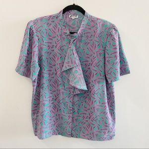 2/25 🍉 vintage geometric 80s ruffle blouse